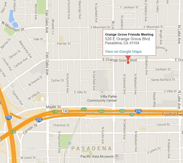Orange Grove California Map.Quakers In Los Angeles Co Quakers Pasadena Caorange Grove